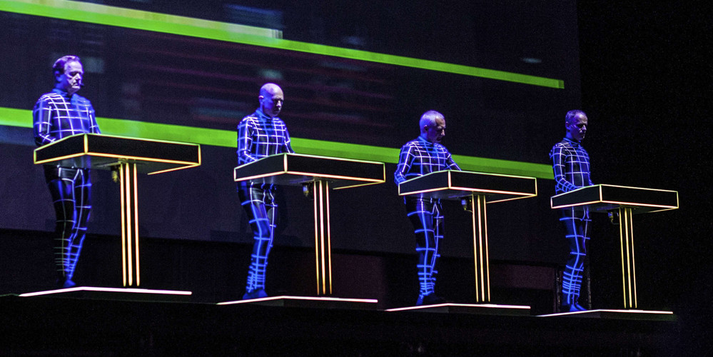 The German group Kraftwerk perform at Slovak music festival Pohoda at Trencin airport, Slovakia, July 10, 2014. Photo/Katarina Acelova (CTK via AP Images)/kol 1/159026019988/CZECH REPUBLIC OUT, SLOVAKIA OUT, POLAND OUT, SWEDEN OUT, NORWAY OUT Please contact your sales representative for pricing and restriction questions. CZECH REPUBLIC OUT, SLOVAKIA OUT, POLAND OUT, SWEDEN OUT, NORWAY OUT/1407111732